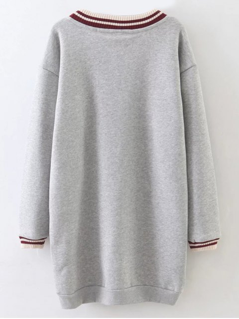 unique Loose Embroidered Long Sleeve Dress - GRAY L Mobile
