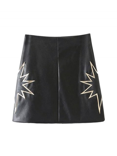 women PU Printed A-Line Skirt - BLACK S Mobile