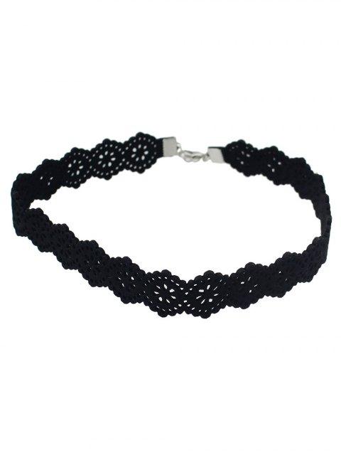 affordable Punk Floral Openwork Lace Choker - BLACK  Mobile
