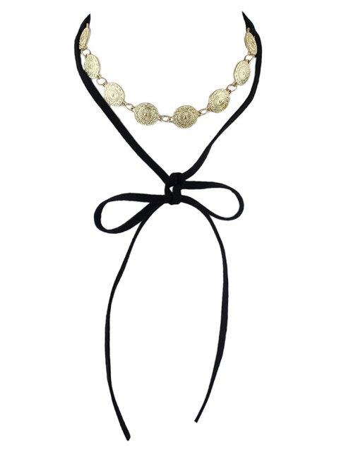 womens Tie Velvet Bar Round Alloy Necklace -   Mobile