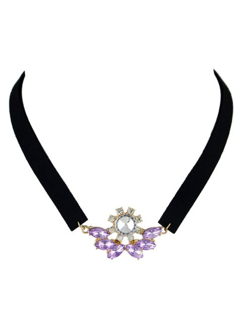 ladies Faux Crystal Velvet Choker Choker -   Mobile