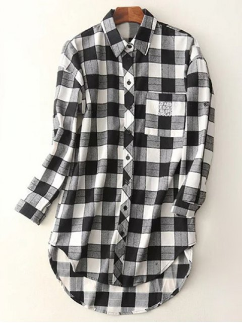 shop Letter Checked High-Low Shirt - BLACK M Mobile
