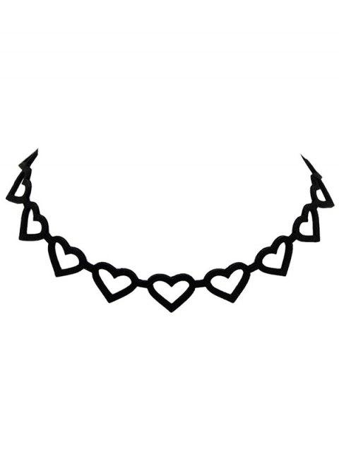 best Hollow Out Velvet Peach Heart Choker - BLACK  Mobile