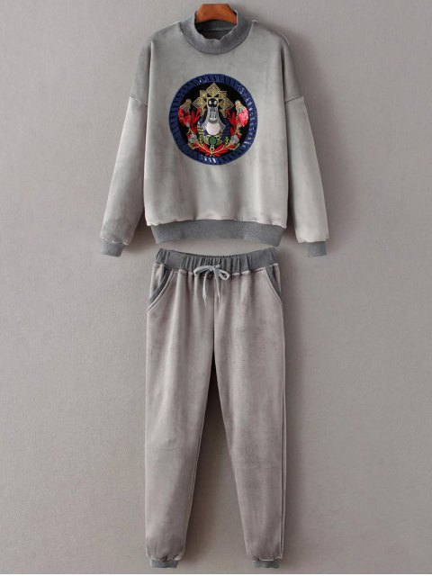 outfit Embroidered Sweatshirt and Drawstring Gym Pants - GRAY M Mobile
