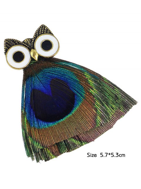 shops Owl Animal Feather Enamel Brooch -   Mobile