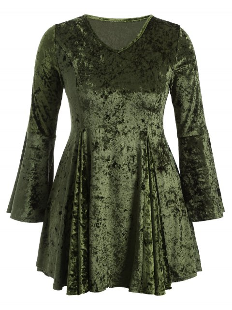 shops Bell Sleeve V Neck Fit and Flare Velvet Dress - GREEN 3XL Mobile