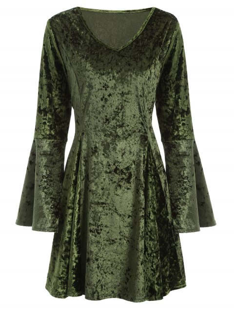 lady Bell Sleeve Fit and Flare Velvet Dress - GREEN M Mobile