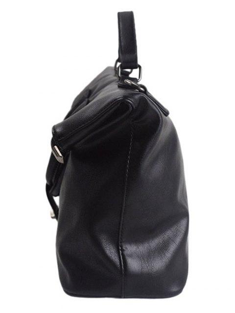 shop Fold Over PU Leather Handbag - BLACK  Mobile