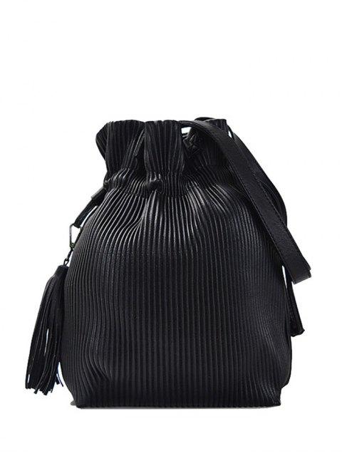 shops Tassel Ribbed Drawstring Shoulder Bag - BLACK  Mobile