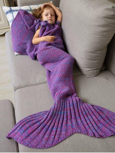 Couverture tricotée en forme de sirène et sac de couchage - Pourpre  Mobile