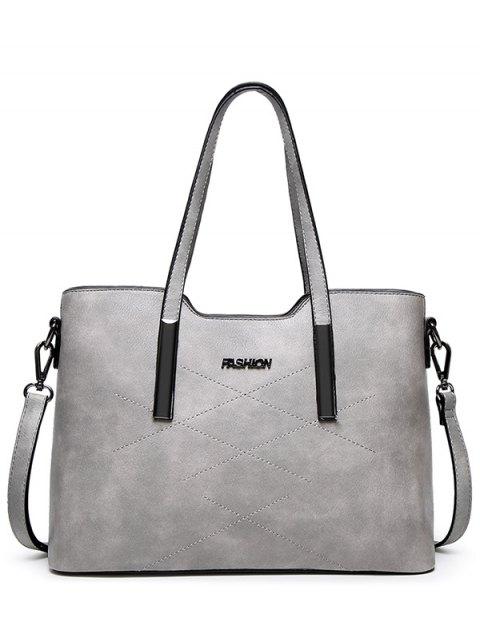 fancy Stitching Metal Embellished Shoulder Bag - LIGHT GRAY  Mobile