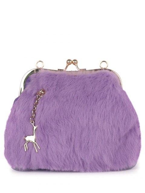 shops Kiss Lock Furry Evening Bag - PURPLE  Mobile