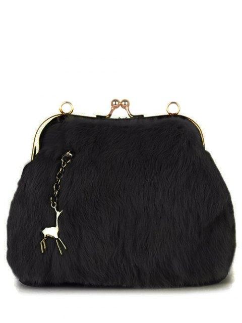 trendy Kiss Lock Furry Evening Bag - BLACK  Mobile