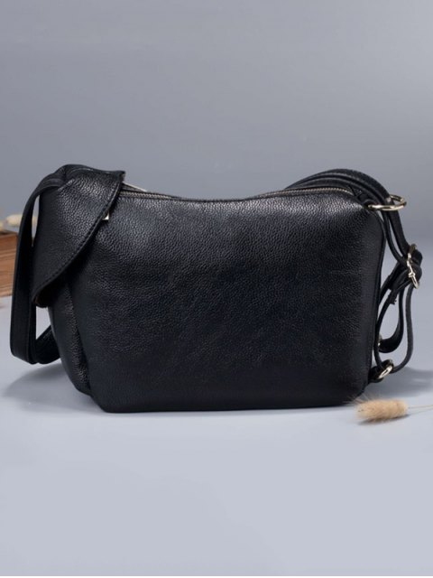 affordable Convertible Textured PU Leather Shoulder Bag - BLACK  Mobile