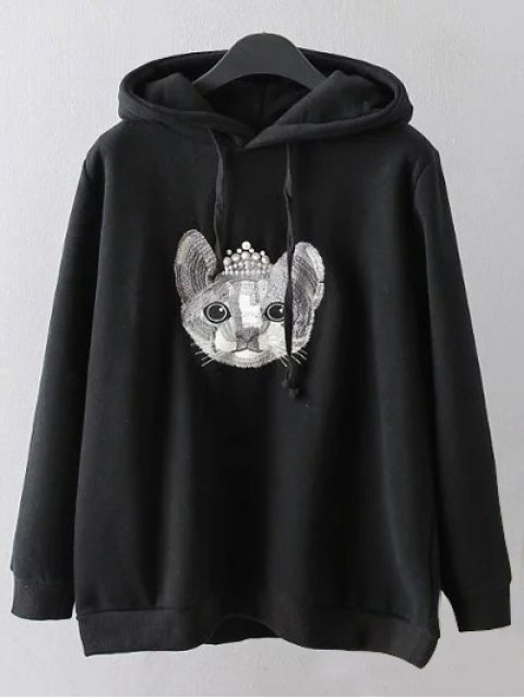 women String Cartoon Embroidered Hoodie - BLACK XL Mobile