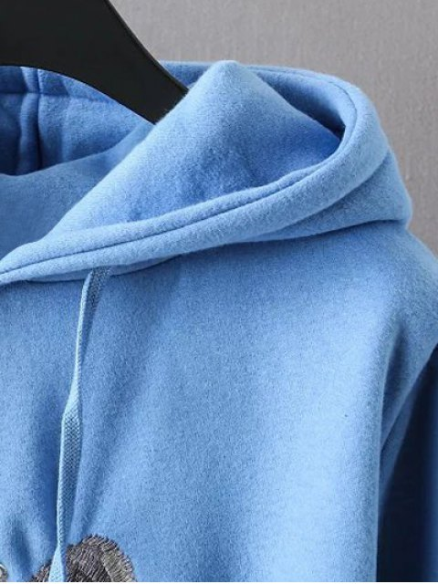 best String Cartoon Embroidered Hoodie - BLUE 3XL Mobile
