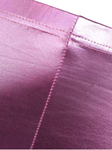 sale Faux Leather Gilding Leggings - PINK ONE SIZE Mobile
