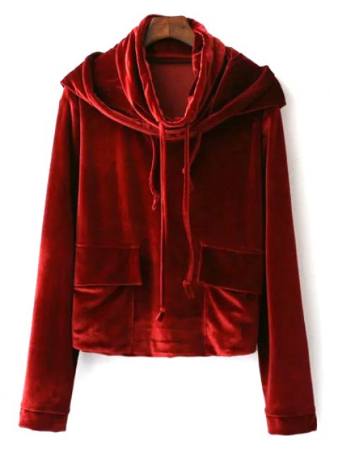 outfits Cropped Velvet Hoodie - WINE RED S Mobile