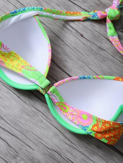 Print Halter Bikini Set - GREEN L Mobile
