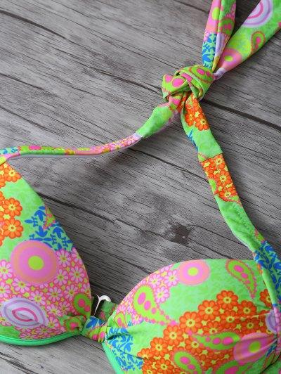 Print Halter Bikini Set - GREEN M Mobile