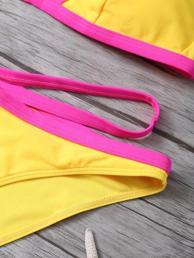Color Block High Cut Bikini Set - YELLOW L Mobile