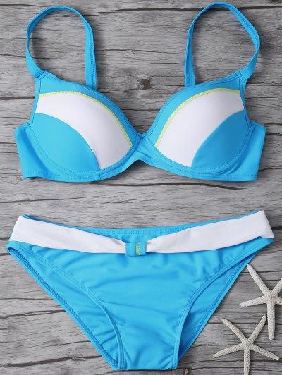 Color Block Gathered Bikini Set - LAKE BLUE L Mobile