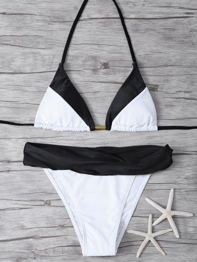Cami Color Block Bikini Set - BLACK M Mobile