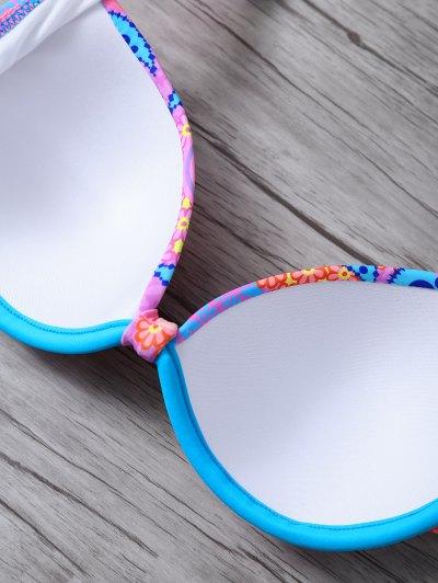Halter Ethnic Style Bikini Set - BLUE L Mobile