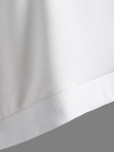 Color Block Cropped Sweatshirt - WHITE 2XL Mobile