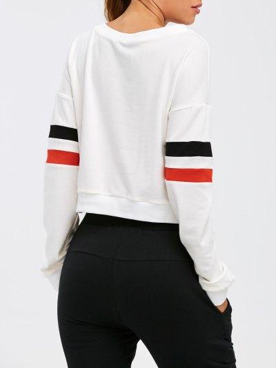 Color Block Cropped Sweatshirt - WHITE L Mobile