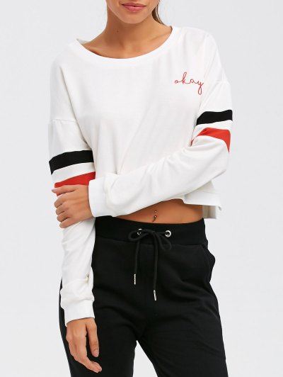 Color Block Cropped Sweatshirt - WHITE L Mobile