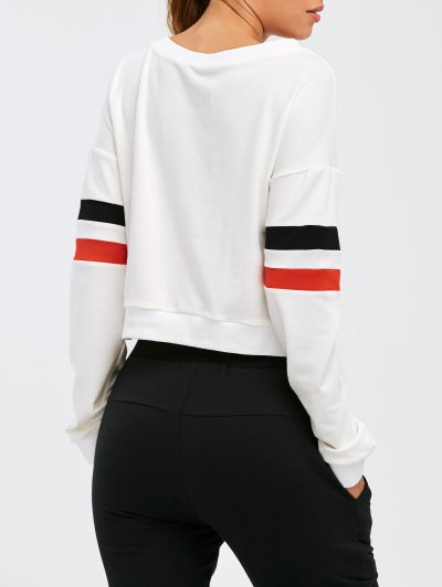 Color Block Cropped Sweatshirt - WHITE M Mobile