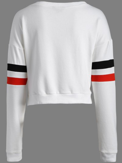 Color Block Cropped Sweatshirt - WHITE S Mobile