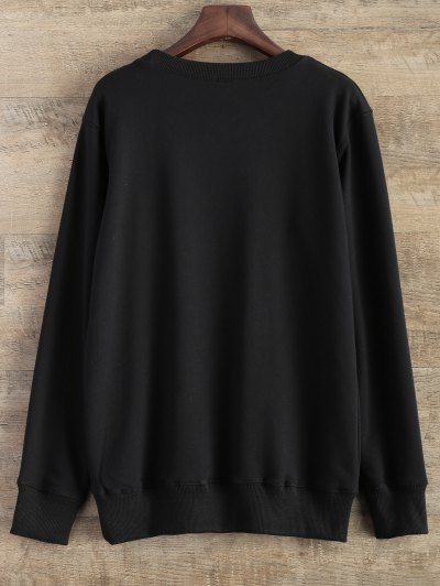 Gesture Graphic Pullover Sweatshirt - BLACK L Mobile