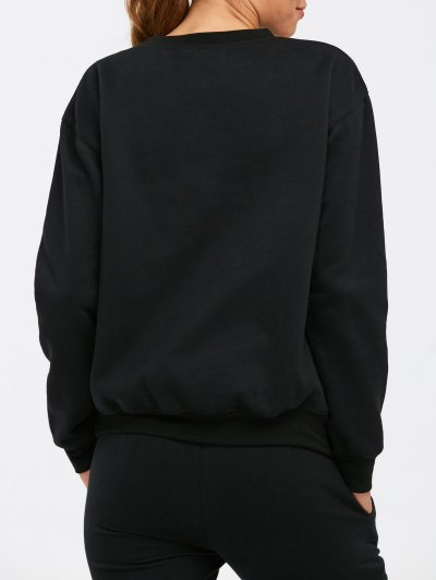 Letter Pattern Crew Neck Sweatshirt - BLACK S Mobile