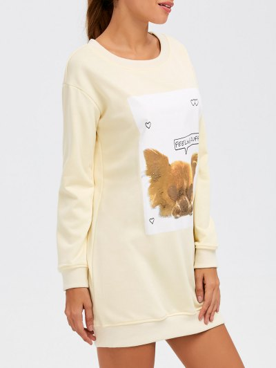 Puppy Graphic Long Sweatshirt - OFF-WHITE 2XL Mobile
