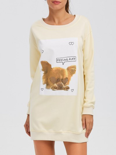 Puppy Graphic Long Sweatshirt - OFF-WHITE L Mobile