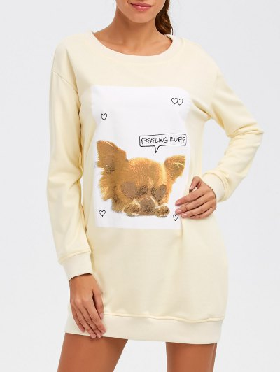 Puppy Graphic Long Sweatshirt - OFF-WHITE M Mobile