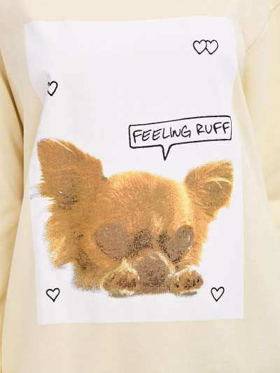 Puppy Graphic Long Sweatshirt - OFF-WHITE S Mobile