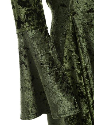 Bell Sleeve Velvet Fit and Flare Dress - GREEN XL Mobile
