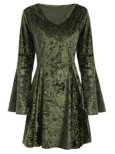 Bell Sleeve Velvet Fit and Flare Dress - GREEN L Mobile