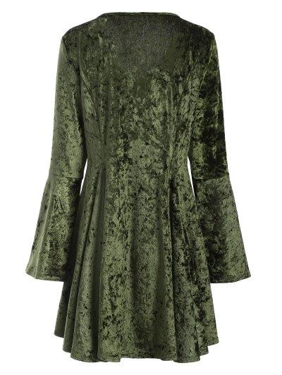 Bell Sleeve Velvet Fit and Flare Dress - GREEN M Mobile