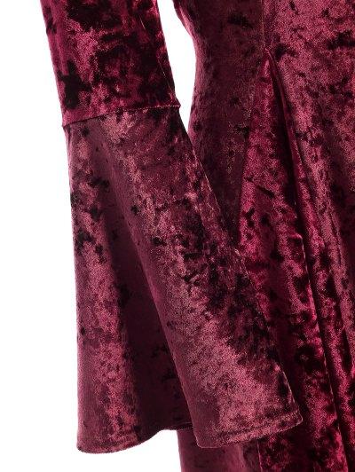 Bell Sleeve Velvet Fit and Flare Dress - BURGUNDY L Mobile