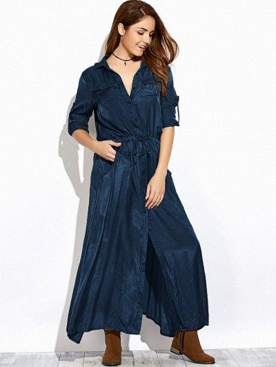 Long Sleeves Maxi Shirt Dress - PURPLISH BLUE S Mobile