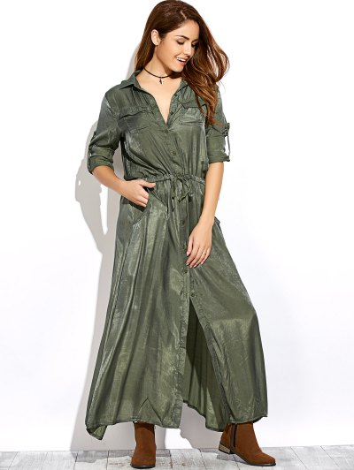 Long Sleeves Maxi Shirt Dress - GREEN S Mobile