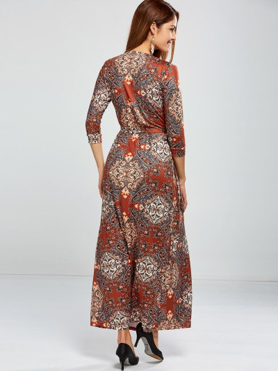Paisley Print Maxi Wrap Dress - COLORMIX S Mobile