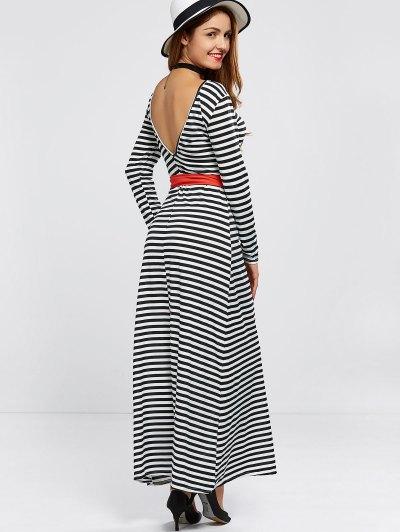 V Back Belted Striped Maxi Dress - STRIPE M Mobile