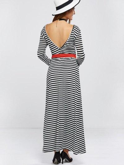 V Back Belted Striped Maxi Dress - STRIPE S Mobile