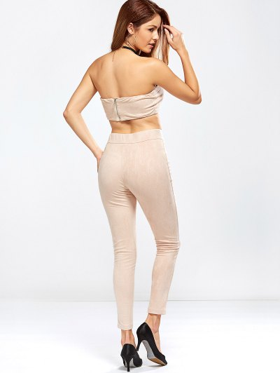 Faux Suede Bandeau Top and High Rise Pants - NUDE PINK L Mobile