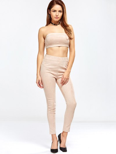 Faux Suede Bandeau Top and High Rise Pants - NUDE PINK M Mobile